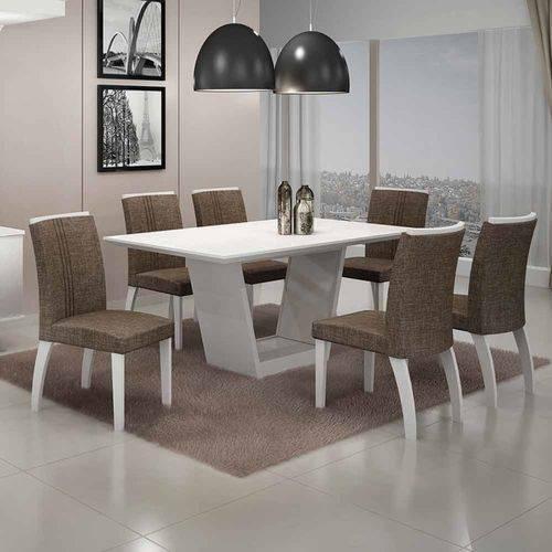 Mesa de Jantar Alemanha C/6 Cadeiras Linho Marrom I Branco/imbuia Mel/branco - Leifer Móveis