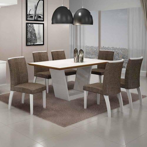 Mesa de Jantar Alemanha C/6 Cadeiras Linho Marrom I Branco/imbuia Mel/imbuia Mel - Leifer Móveis
