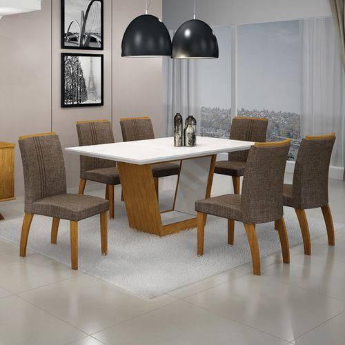 Mesa de Jantar Alemanha C/6 Cadeiras Linho Marrom I Imbuia Mel/branco/branco - Leifer Móveis