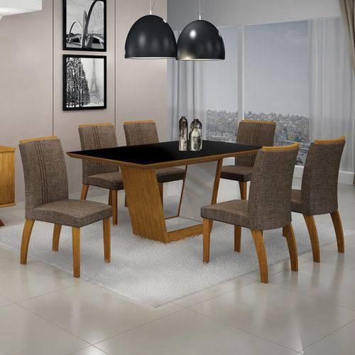 Mesa de Jantar Alemanha C/6 Cadeiras Linho Marrom Ii Imbuia Mel/branco/imbuia Mel - Leifer Móveis