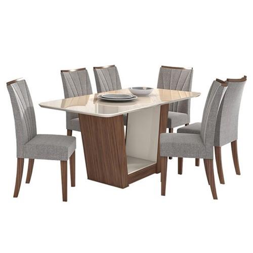 Mesa de Jantar Apogeu 6 Cadeiras com Tampo Off White - Imbuia Soft