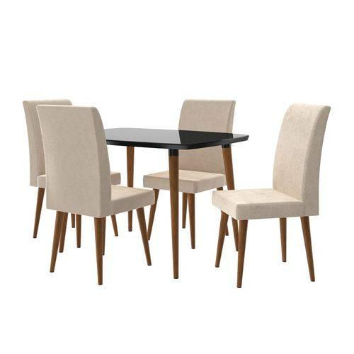 Mesa de Jantar com 4 Cadeiras Jade Black com Suede Bege - RV Móveis