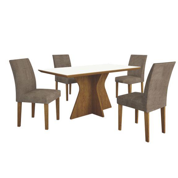 Mesa de Jantar Creta 4 Cadeiras - Imbuia Mel