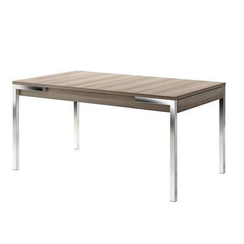 Mesa de Jantar em Aço com 2 Gavetas Cromado/Nogueira 1529 Móveis Carraro