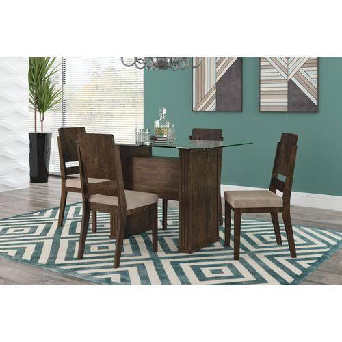 Mesa de Jantar Europa com 4 Cadeiras Esmeralda Noce com Suede Bege - Rv Móveis