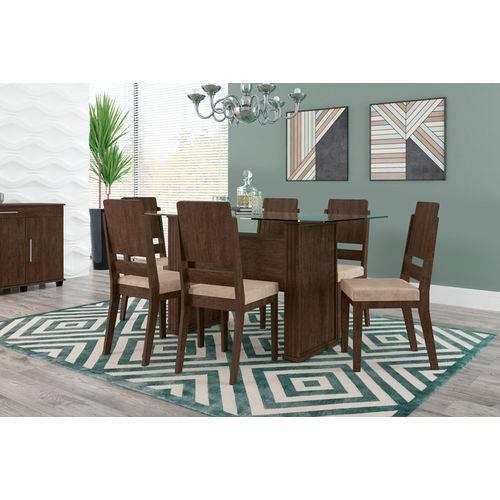 Mesa de Jantar Europa com 6 Cadeiras Esmeralda Noce com Suede Bege - Rv Móveis