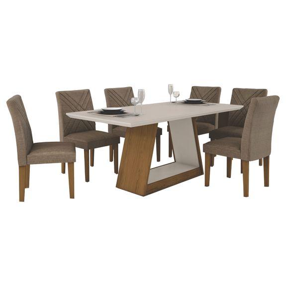 Mesa de Jantar Gênova 180cm Quina Reta com 6 Cadeiras - Imbuia - Off White / Veludo Riscado Camurça