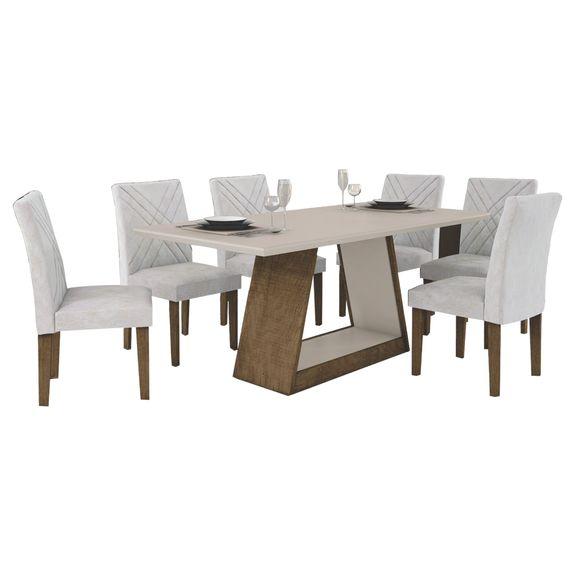 Mesa de Jantar Gênova 180cm Quina Reta com 6 Cadeiras - Ypê - Off White / Pena Palha