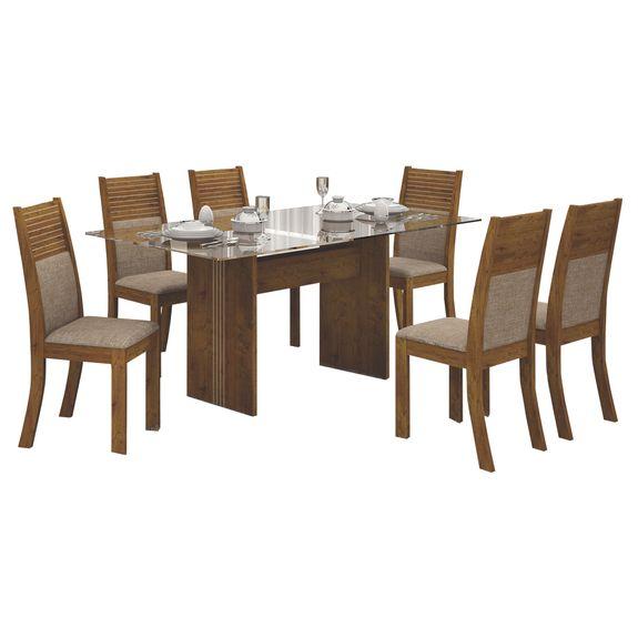 Mesa de Jantar Havaí 160cm Tampo de Vidro com 6 Cadeiras - Canela / Linho Bege