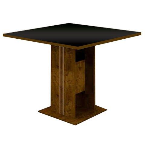 Mesa de Jantar Invicta com Vidro Preto para 4 Lugares 0,90m - Canela