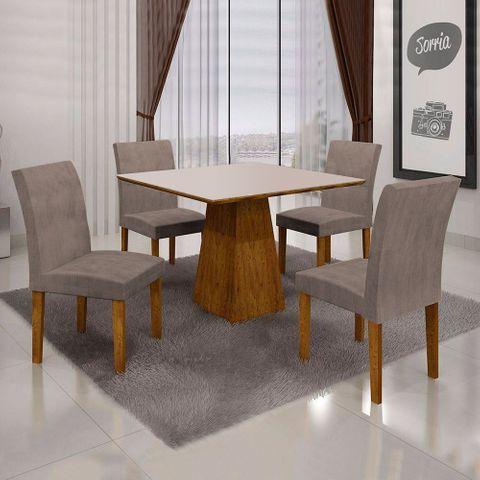 Mesa de Jantar Itália 0,90m com Vidro OffWhite + 4 Cadeiras Olímpia Animale Capuccino - Canela