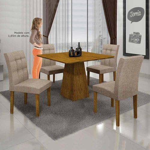 Mesa de Jantar Itália 90x90cm C/4 Cadeiras Tampo Mdf Linho Bege/canela - Leifer Móveis