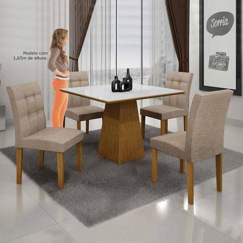 Mesa de Jantar Itália 90x90cm C/4 Cadeiras Vidro Branco Linho Bege/imbuia Mel - Leifer Móveis