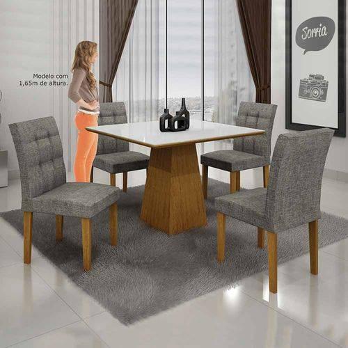 Mesa de Jantar Itália 90x90cm C/4 Cadeiras Vidro Branco Linho Cinza/imbuia Mel - Leifer Móveis