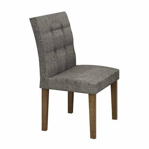 Mesa de Jantar Itália 90x90cm C/4 Cadeiras Vidro Branco Linho Cinza/ypê - Leifer Móveis