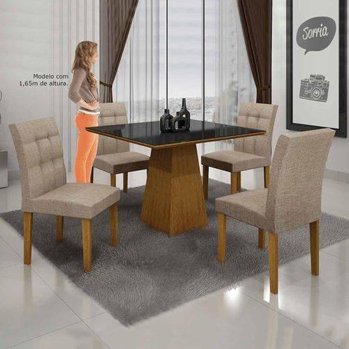 Mesa de Jantar Itália 90x90cm C/4 Cadeiras Vidro Preto Linho Bege/imbuia Mel - Leifer Móveis