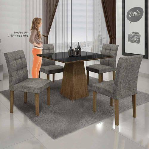 Mesa de Jantar Itália 90x90cm C/4 Cadeiras Vidro Preto Linho Cinza/ypê - Leifer Móveis