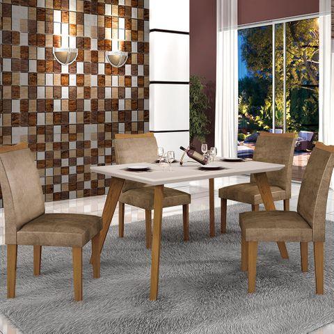 Mesa de Jantar Lavínia 1,20m com Vidro Offwhite + 4 Cadeiras Pampulha Animale Capuccino - Imbuia Mel