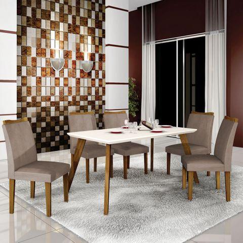 Mesa de Jantar Lavínia 1,60m com Vidro Offwhite + 6 Cadeiras Pampulha Animale Capuccino - Imbuia Mel