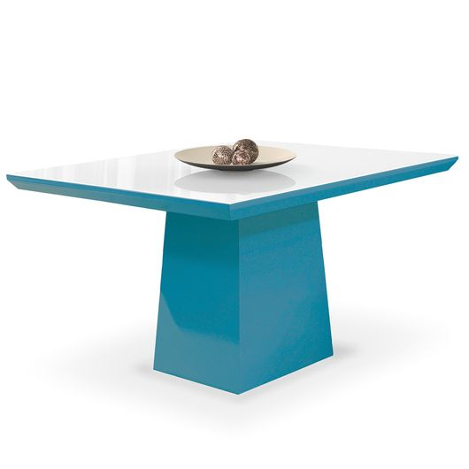 Mesa de Jantar para 4 Lugares, Laca Azul, Vidro Branco, Anis II