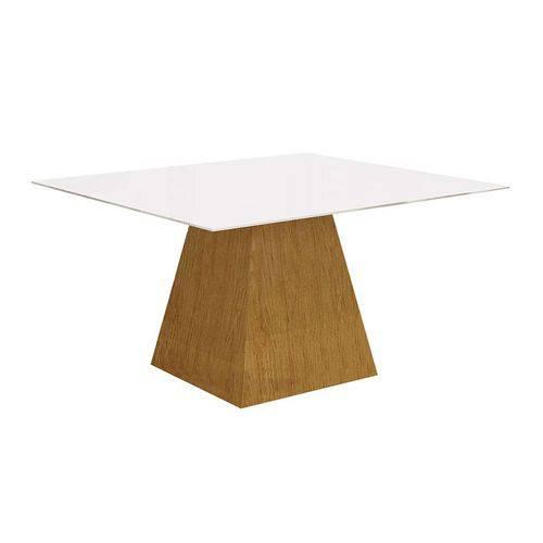 Mesa de Jantar Quadrada Grécia Branca e Imbuia 140 Cm