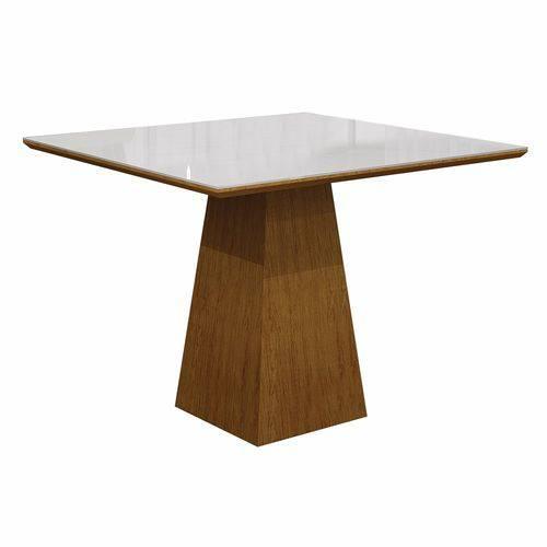 Mesa de Jantar Quadrada Tampo Vidro Itália Leifer Imbuia Mel/branco