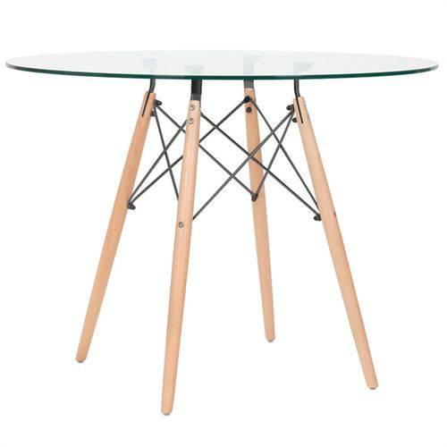Mesa de Jantar Redonda Eames Eiffel - Wood - Tampo de Vidro - 100 Cm