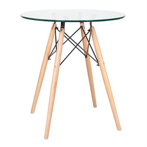 Mesa de Jantar Redonda Eames Eiffel - Wood - Tampo de Vidro - 70 Cm