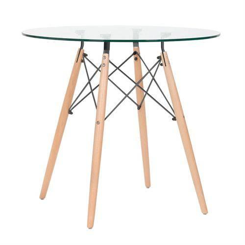 Mesa de Jantar Redonda Eames Eiffel - Wood - Tampo de Vidro - 80 Cm