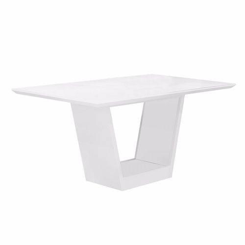 Mesa de Jantar Retangular Tampo MDF/Vidro Alemanha Leifer Flex Color Branco/Imbuia Mel
