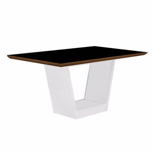 Mesa de Jantar Retangular Tampo Mdf/vidro Alemanha Leifer Flex Color Branco/preto/borda Imbuia Mel