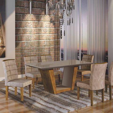 Mesa de Jantar Viggor Plus 1,70m com Vidro Offwhite + 6 Cadeiras Villa Rica Tecido 84B - Ypê