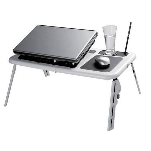 Mesa Dobrável e Ajustável com 2 Cooler para Notebook com Suporte a Copo
