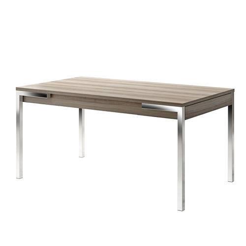 Mesa em Aço Cromado com Gaveta 152916100 Nogueira 2v - Carraro