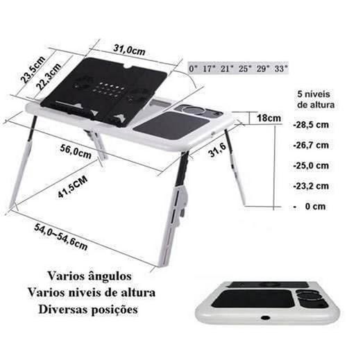 Mesa Ergonômica para Notebook com Cooler - Branco