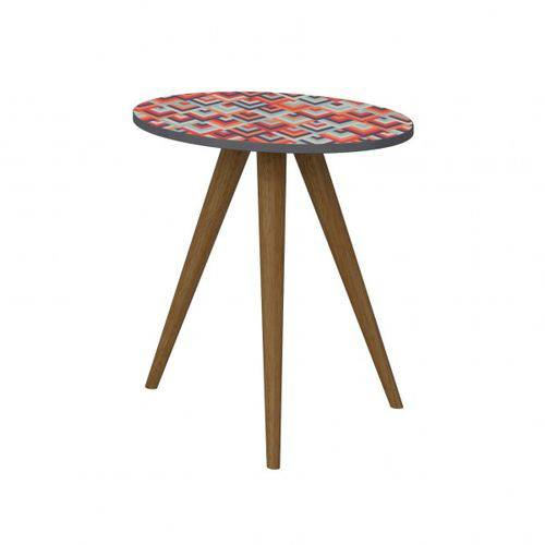 Mesa Lateral 500 Retrô-espresso/estampa Vermelho - Be Mobiliário