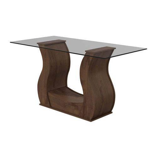 Mesa Lopas Base Dafne Madeirado C/ Tampo de Vidro 160cm (s/ Cadeiras) - Cor Imbuia Soft