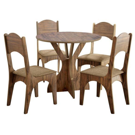 Mesa Nina com 4 Cadeiras - Nobre Fosco/Chenille Marrom