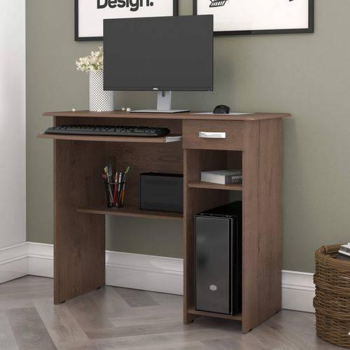 Mesa para Computador 1 Gaveta Viena EJ Móveis Castanho