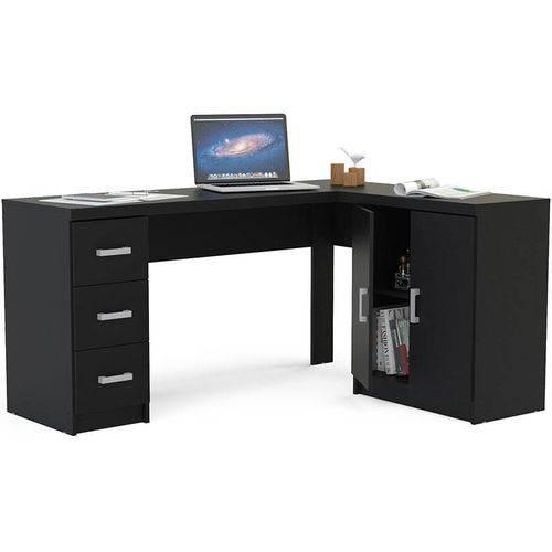 Mesa para Computador com 2 Portas e 3 Gavetas Espanha - Politorno - Preto