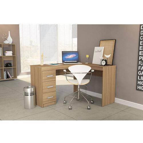 Mesa para Computador Fênix Canto 3 Gavetas - Politorno