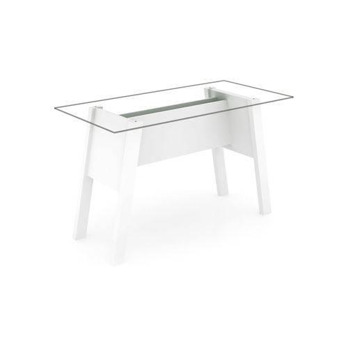 Mesa para Escritório C/ Tampo Vidro Me41 Tecno Mobili Branco