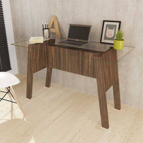 Mesa para Escritório com Cavaletes e Tampo de Vidro ME4134 Tecno Móbili