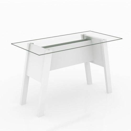 Mesa para Escritório com Tampo de Vidro Temperado ME4134, TecnoMobili - Branco