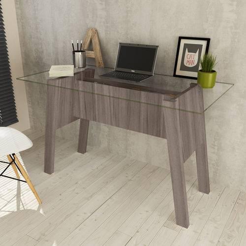 Mesa para Escritório Tampo Vidro Me4134 Carvalho - Tecno Mobili