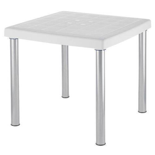 Mesa Plastica Mona Branca com Pernas de Aluminio Anodizado