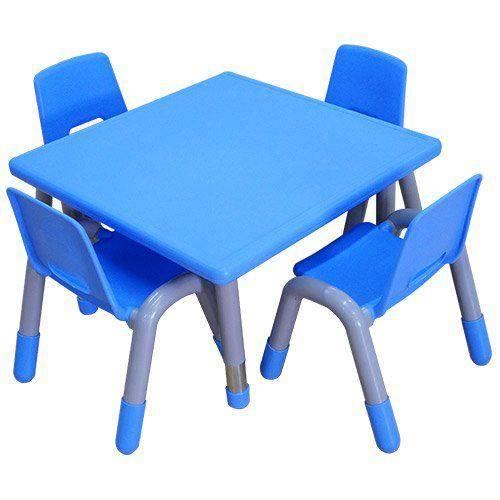 Mesa Quadrada com Pés Reguláveis - Azul