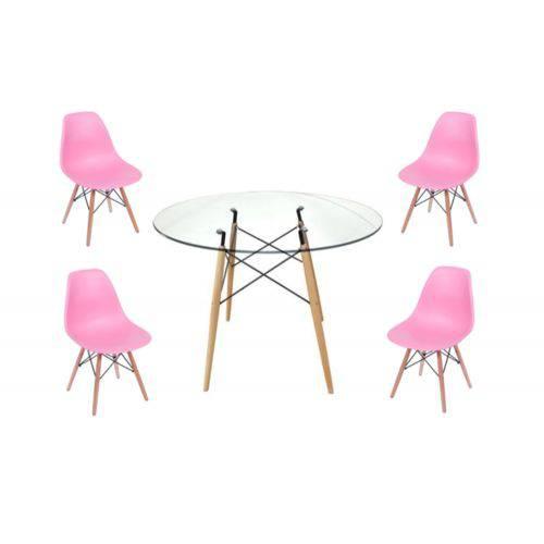 Mesa Redonda Eames 90cm com Tampo de Vidro 10mm e 4 Cadeiras Eames Wood - Ajprcj009or