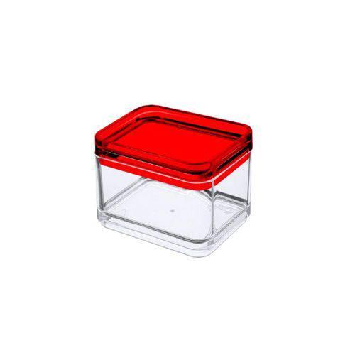 Micro Organizador 7,3 X 5,5 X 5,5 Cm Mod Cristal com Vermelho - Coza