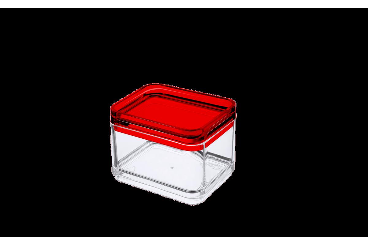 Mini Pote 100 Ml - MOD 7,3 X 5,5 X 5,5 Cm Cristal com Vermelho Coza